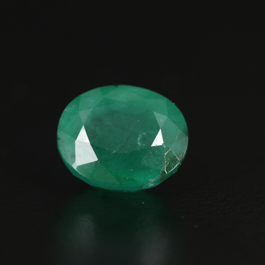 Loose 3.33 CT Oval Emerald with GIA Report