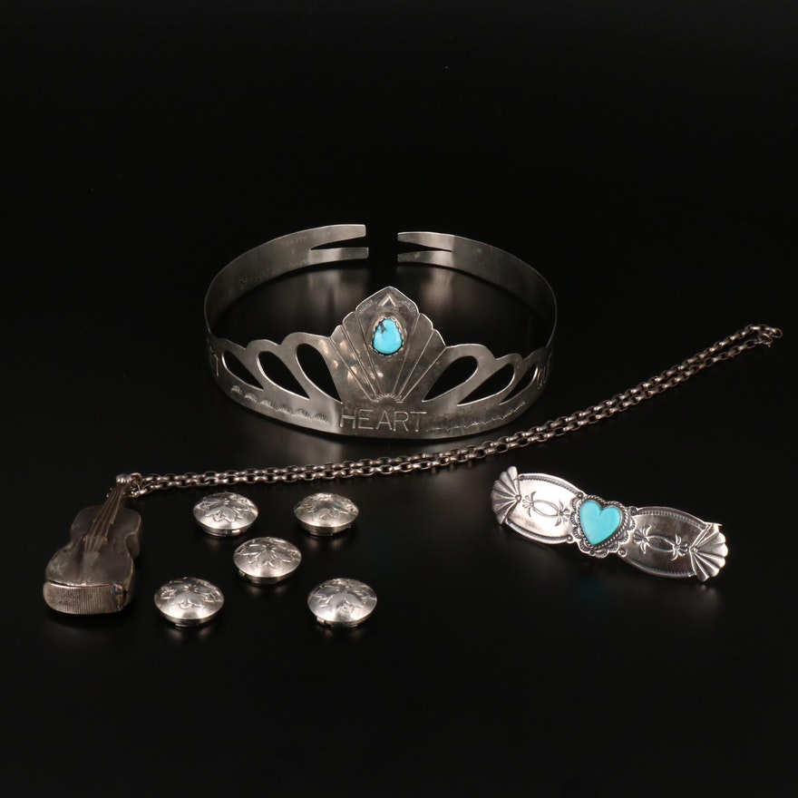 Jewelry Collection Featuring David Reeves Turquoise Navajo Brooch