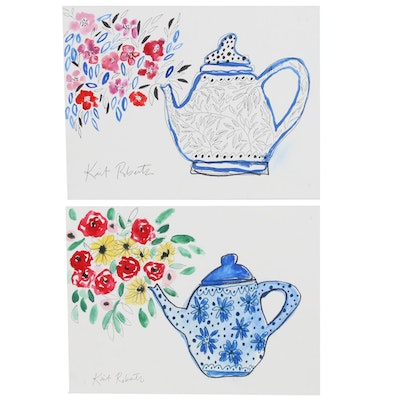 "Kait Roberts Watercolor Paintings ""Granny's Tea Pot"" and ""Tea is Ready"""