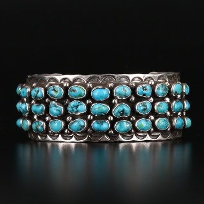 Signed Western Style Sterling and Turquoise Cuff Bracelet