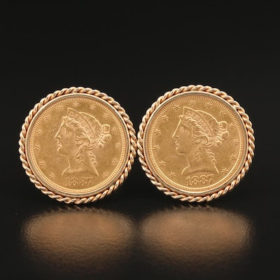 14K Cufflinks with 1887-S Liberty Head Gold Half Eagle Coins