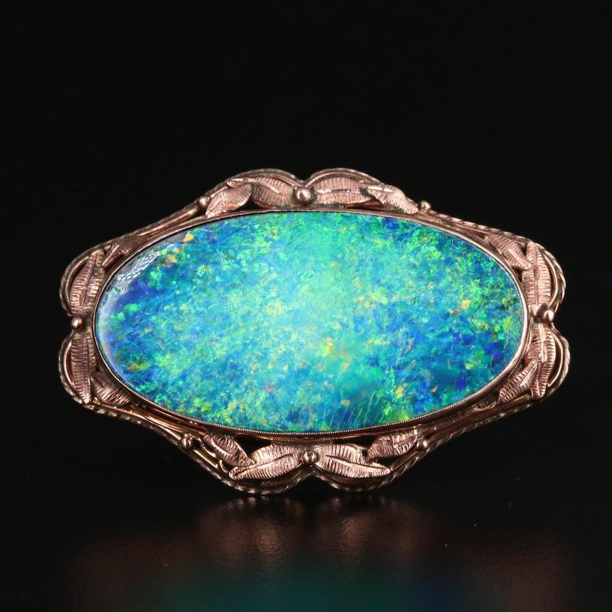Antique 9K Gold Opal Triplet Oval Cabochon Brooch