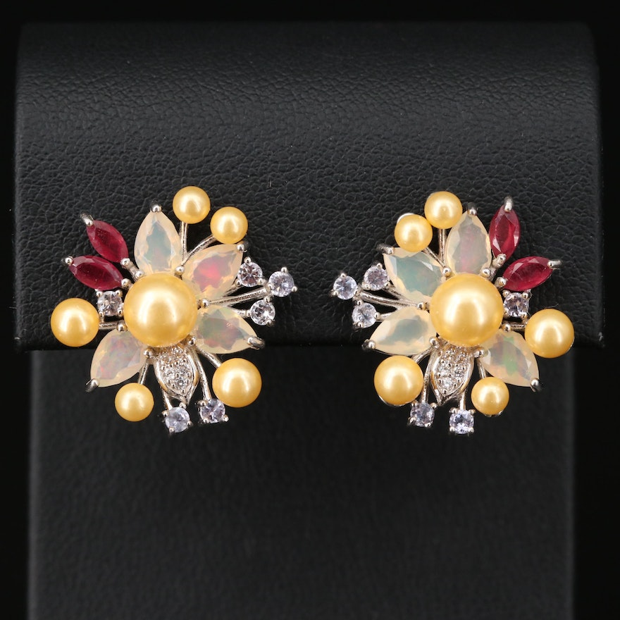 Sterling Silver Floral Earrings with Pearl, Opal and Corundum