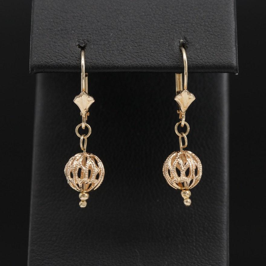 14K Openwork Orb Dangle Earrings