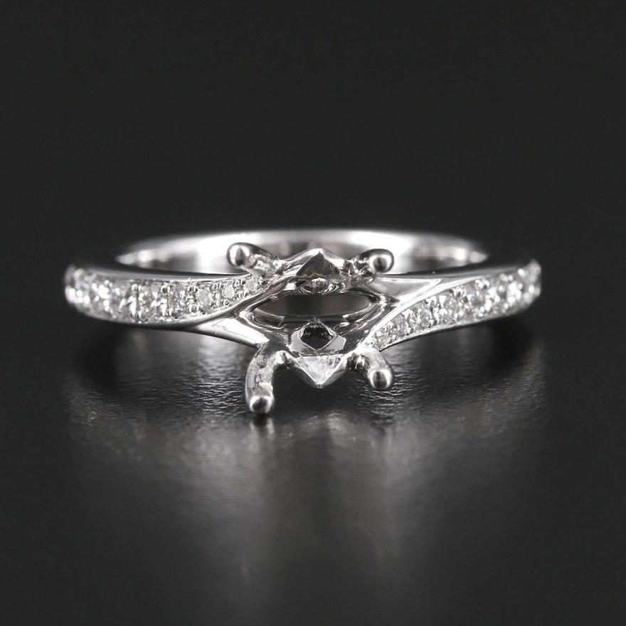 14K Gold Diamond Semi-Mount Ring