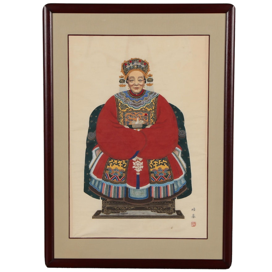 Chinese Ancestor Portrait With First Rank Civil Official Badge Qing Dynasty Ebth