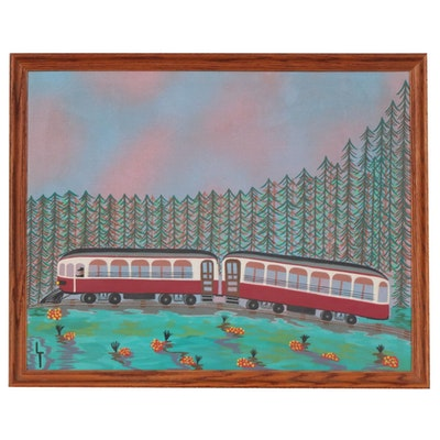 "Lynn Tinsley Folk Art Oil Painting ""The Crimson Limited"", 1972"