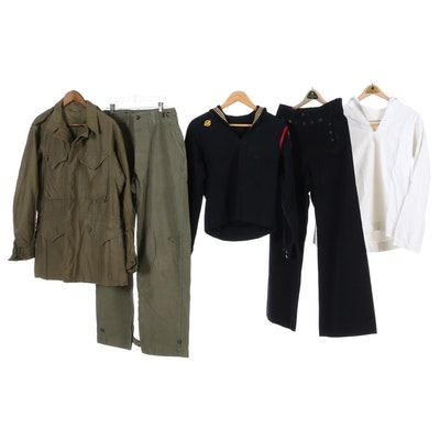 Army and U.S. Navy Uniform, Cracker Jack Shirt and Pants, Seabees Patch and More