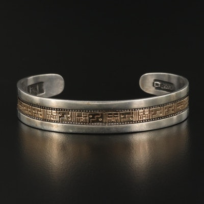 Roderick and Marilyn Tenorio, Kewa Sterling Cuff with 14K Accent