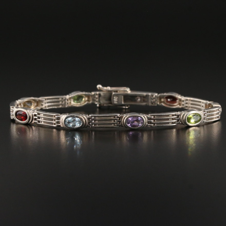 Sterling Silver Multi-Colored Gemstone Bracelet