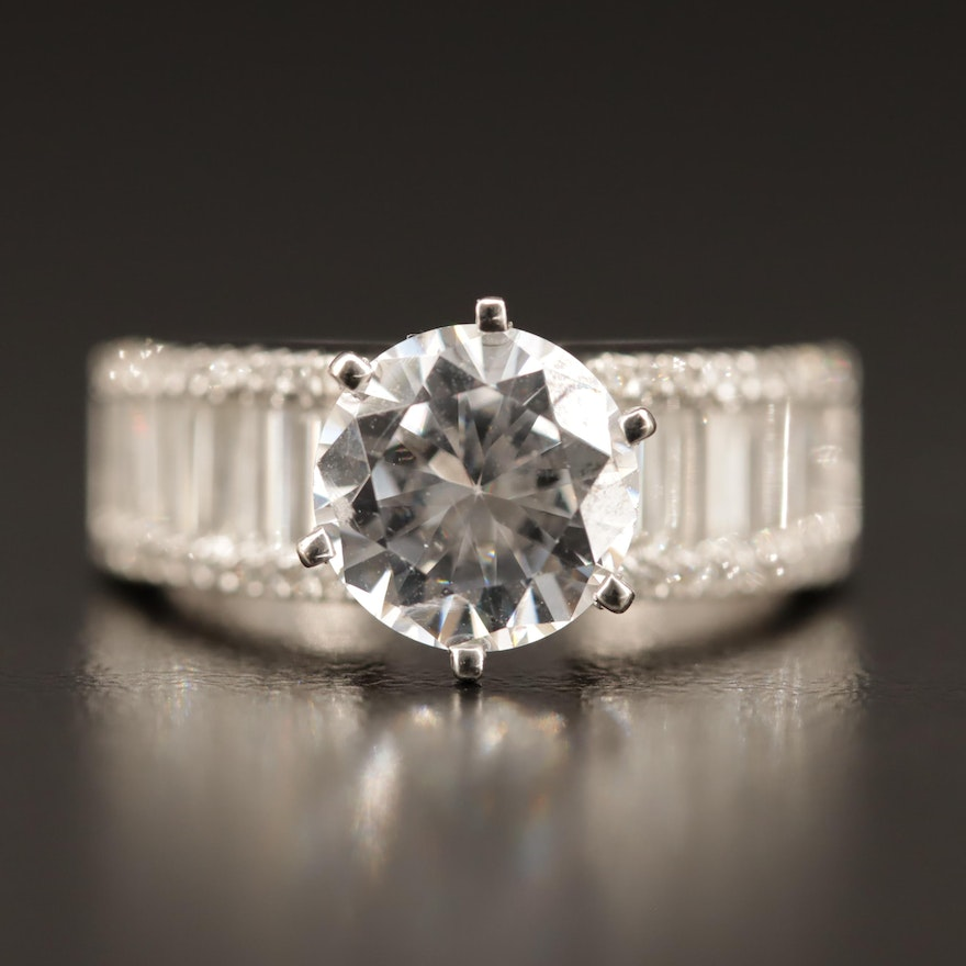 18K 1.45 CTW Diamond Semi-Mount Ring with 14K Accent and Cubic Zirconia Center