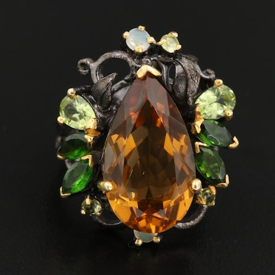 Sterling Silver Citrine, Diopside and Opal Ring