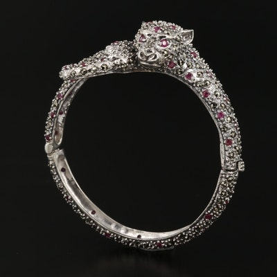 Sterling Silver Ruby and Marcasite Feline Bracelet
