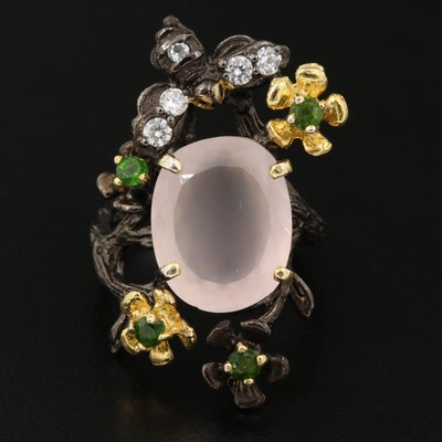 Sterling Silver Rose Quartz, Diopside and Cubic Ziconia Flower and Insect Ring