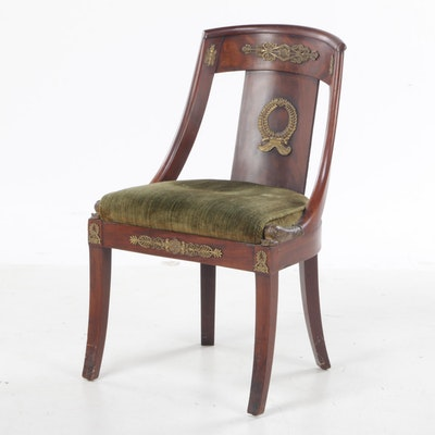 Empire Style Gilt Metal-Mounted Mahogany Side Chair, 20th Century