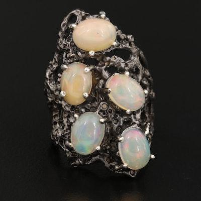 Sterling Silver Opal Openwork Ring
