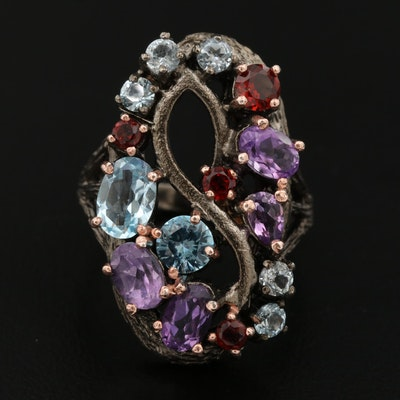 Sterling Silver Amethyst, Topaz and Garnet Ring