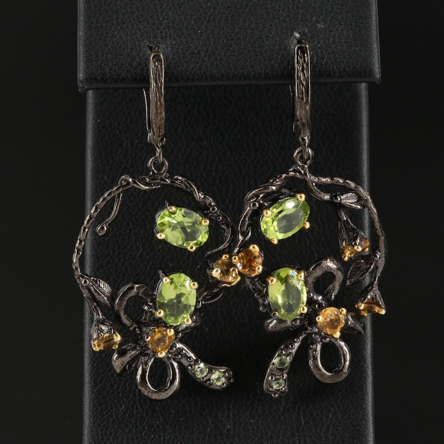 Sterling Silver Peridot and Citrine Earrings