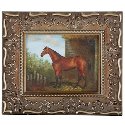 Miniature Horse Oil Painting, Mid-Late 20th Century