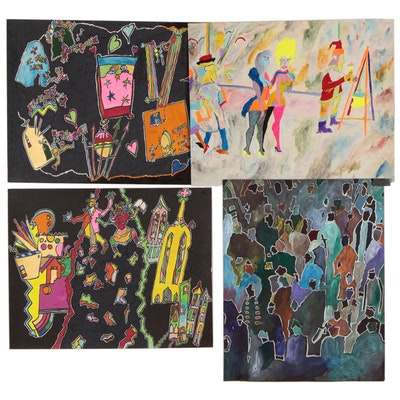 Robert W. Hasselhoff Figural Abstract Mixed Media Paintings, Late 20th Century