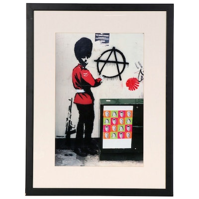 Guardsman Anarchy Grafitti Offset Lithograph after Banksy