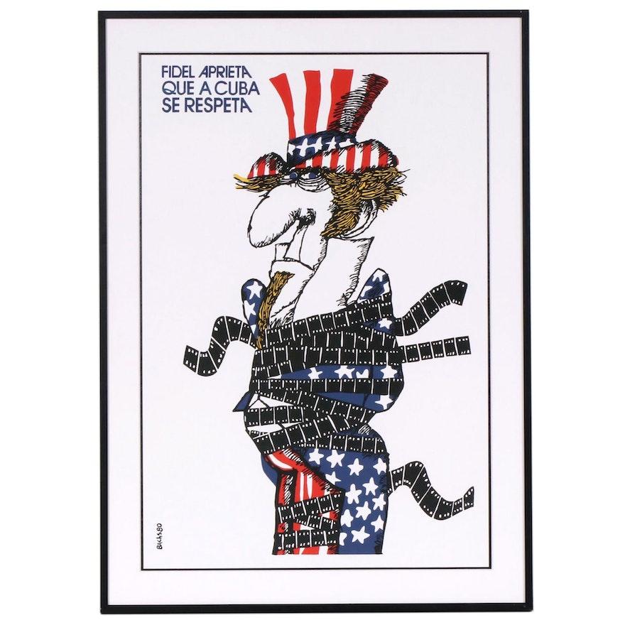 """""""Fidel Aprieta Que a Cuba Se Respeta"""" Serigraph Poster after Eduardo Muñoz Bachs"""