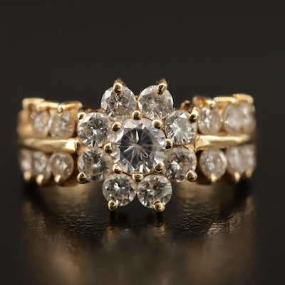 18K Gold 1.43 CTW Diamond Cluster Ring with Cubic Zirconia Center