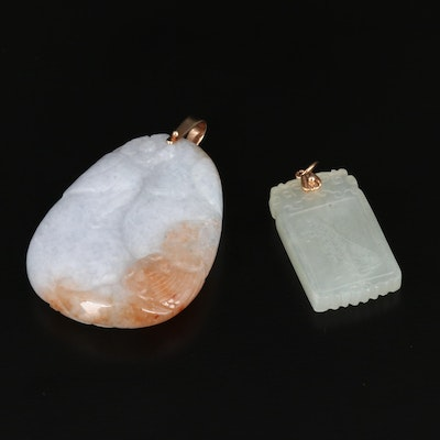 Carved Jadeite and Bowenite Pendants with 18K and 14K Bails