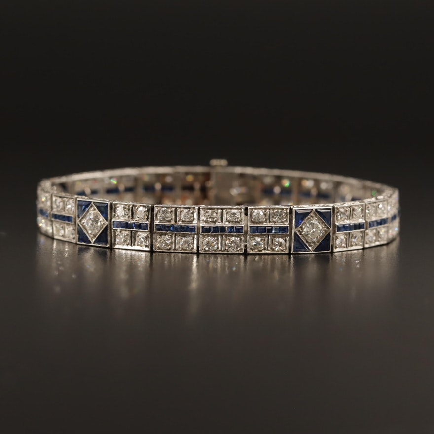 Art Deco Platinum 3.88 CTW Diamond and Sapphire Link Bracelet