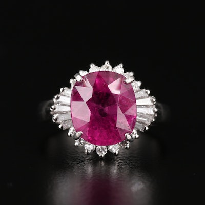 Platinum 3.74 CT Tourmaline and Diamond Ring with GIA Report