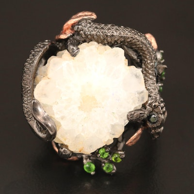 Sterling Silver Quartz and Diopside Serpent Motif Ring