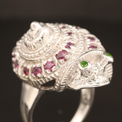 Sterling Silver Diopside and Garnet Snail Ring