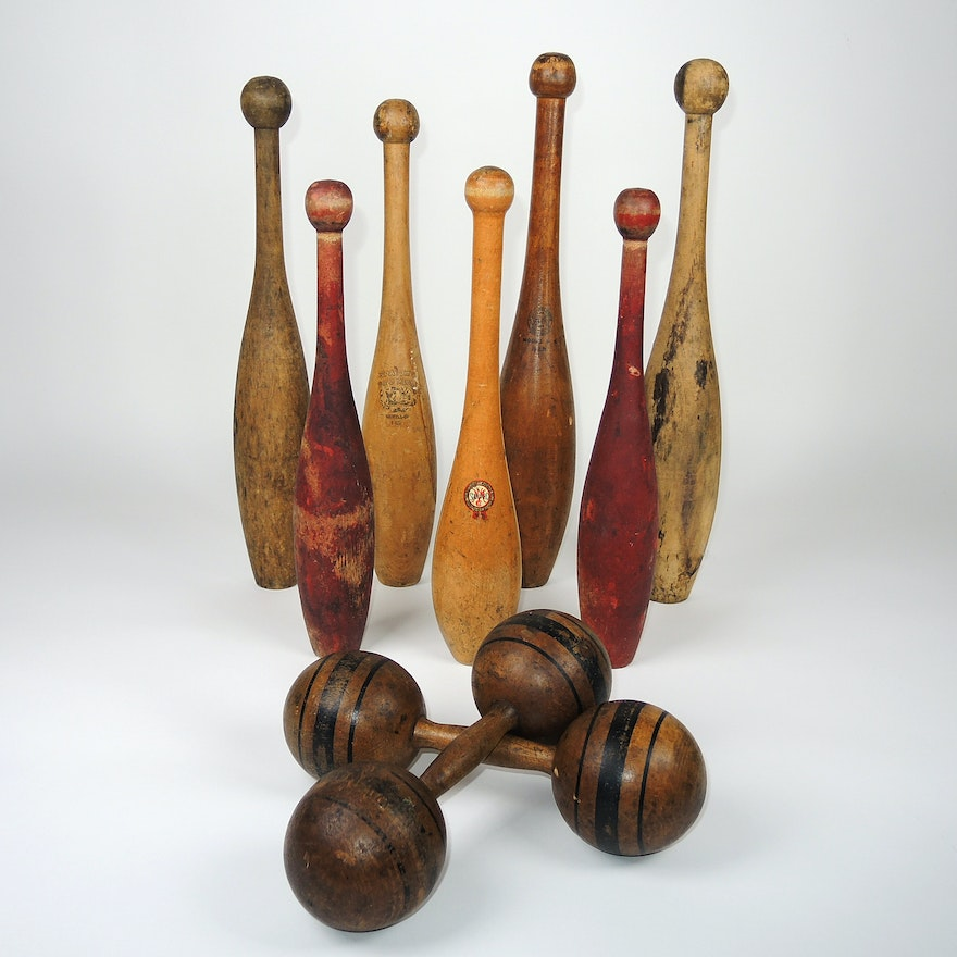 Victorian Wooden Pin Weights and Dumbbell, Early 20th Century