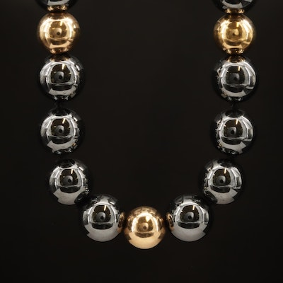 Knotted Hematite Bead Necklace with 14K Clasp and Spacer Beads