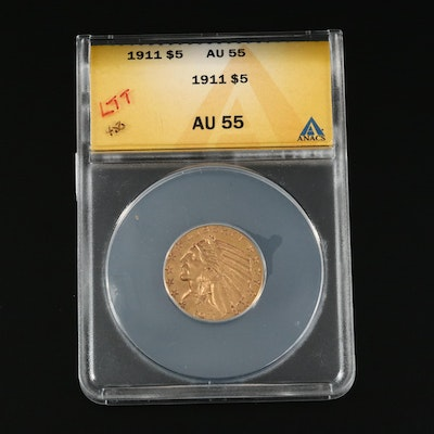 ANACS Graded AU55 1911 Indian Head $5 Gold Half Eagle
