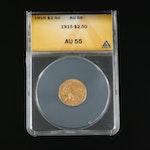 ANACS Graded AU55 1915 Indian Head $2.50 Gold Quarter Eagle