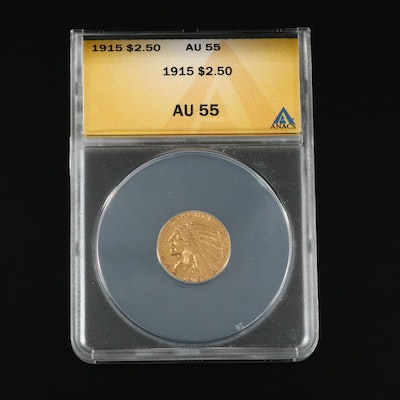 ANACS Graded AU55 1915 Indian Head $2.50 Gold Quarter Eagle