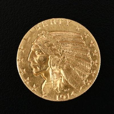1914-D Indian Head $5 Gold Half Eagle
