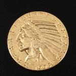 1908 Indian Head $5 Gold Half Eagle