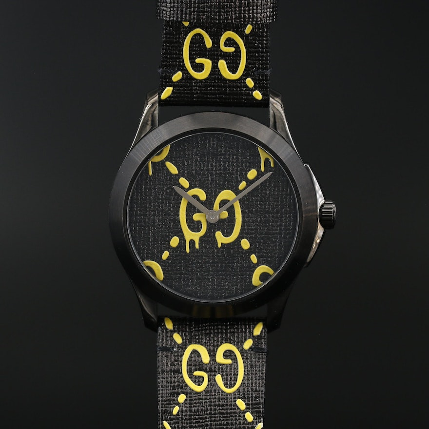 Gucci Ghost -G Timeless Black Stainless Steel Quartz Wristwatch