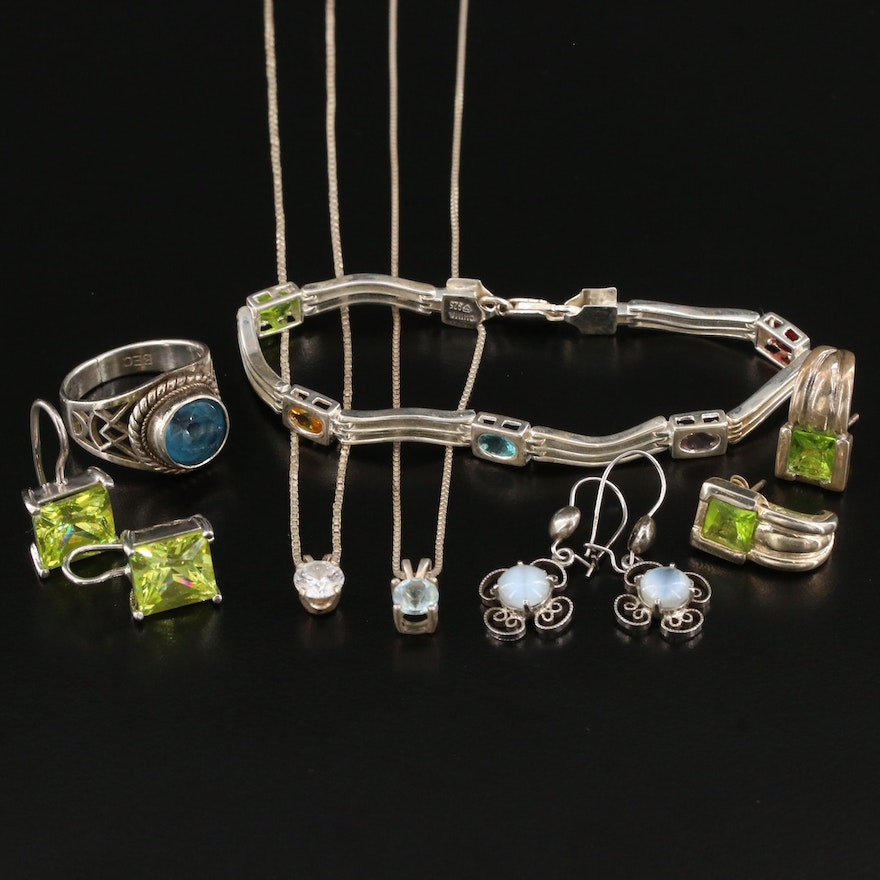 Sterling Jewelry Assortment Including Topaz and Cubic Zirconia