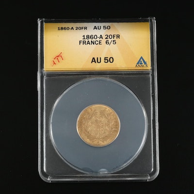 ANACS Graded AU50 1860-A France 20-Francs Gold Coin
