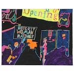 "Robert W. ""Hass"" Hasselhoff Mixed Media Painting, 1980"