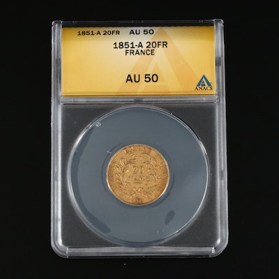 ANACS Graded AU50 1851-A France 20-Francs Gold Coin