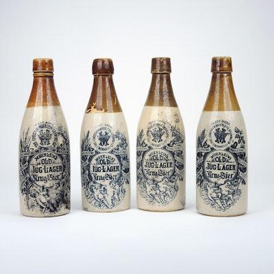 "Christian Moerlein ""Old Jug-Lager""  Stoneware Beer Bottles, 1900s"