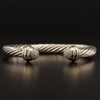 "David Yurman ""Classic Cable"" Sterling Diamond Cuff with 18K Accents"