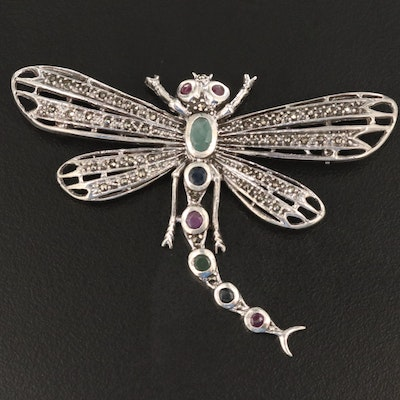 Sterling Dragonfly Brooch with Emerald, Ruby, Sapphire and Marcasite