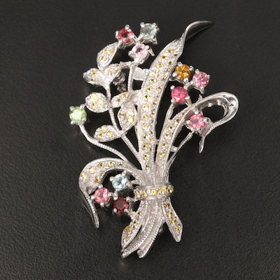 Sterling Floral Brooch with Aquamarine, Peridot and Fancy Color Sapphires
