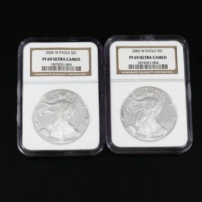Two NGC Graded PF69 Ultra Cameo 2006-W American Silver Eagle Proof Bullion Coins