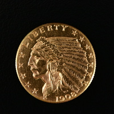 1908 Indian Head $2.50 Gold Quarter Eagle